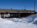 Rail bridge over Central Avenue in winter