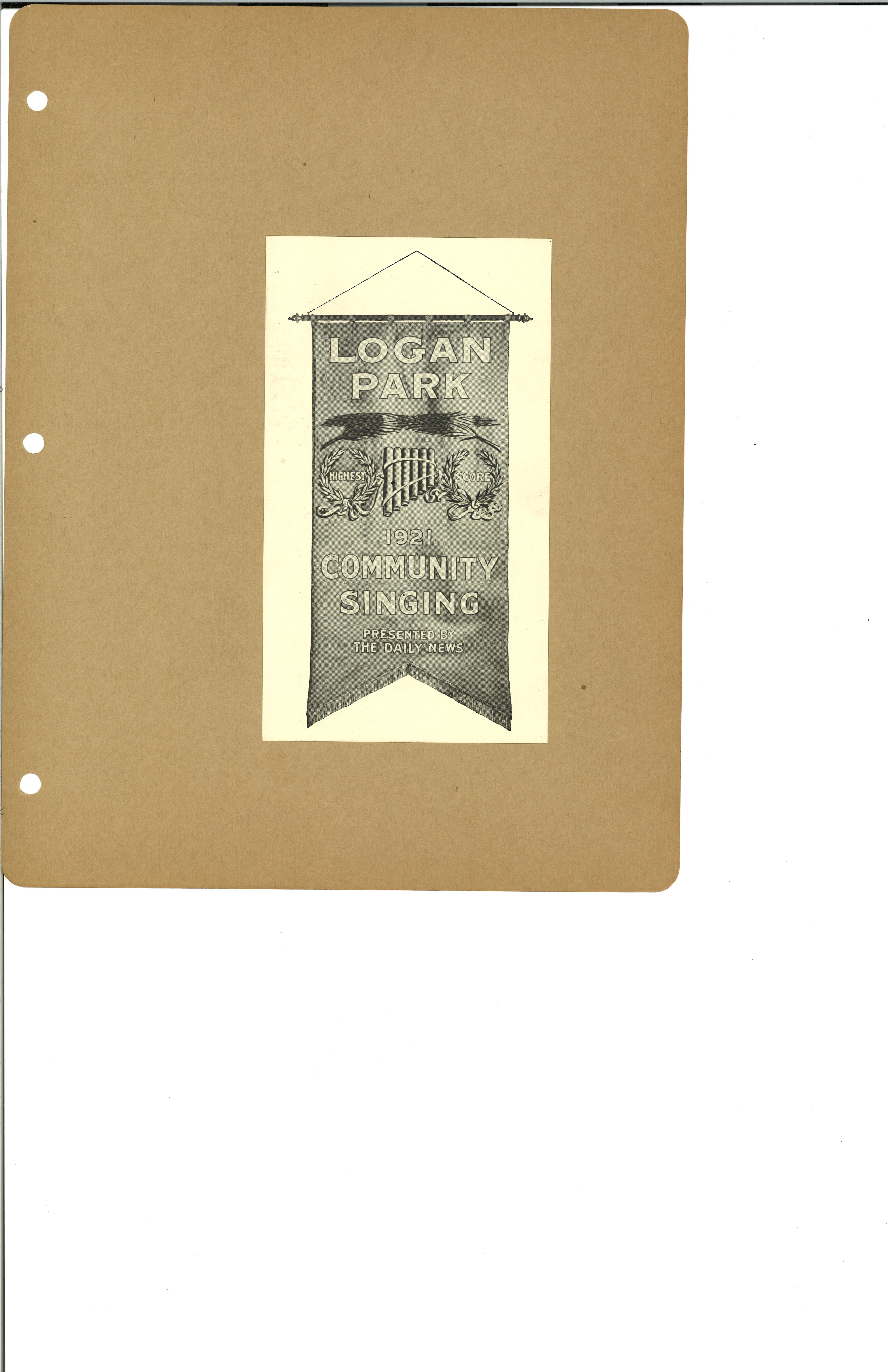 1921 Logan Park Community Sing program