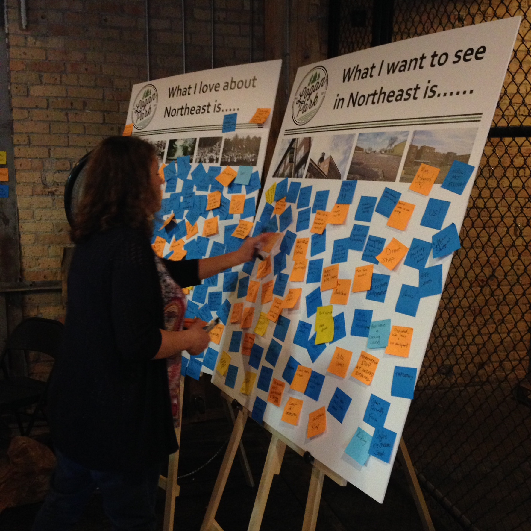 Post-it idea board at public meeting about what residents would like to see in Northeast