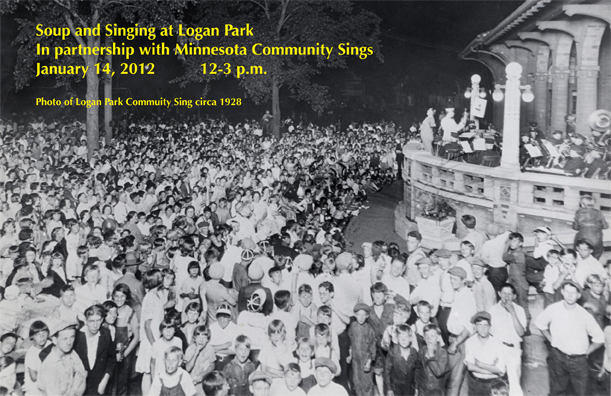 Photo/postcard of a Logan Park Sings event in 2012