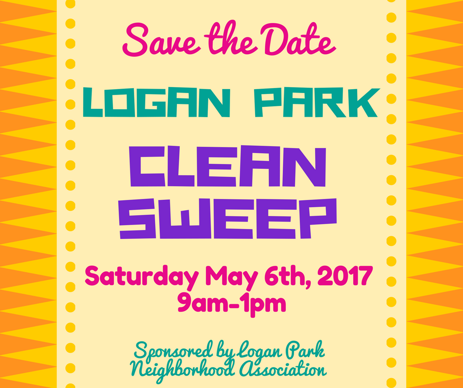 Poster containing following text: Save the Date! Clean Sweep May 6th 2017 9 am to 1pm
