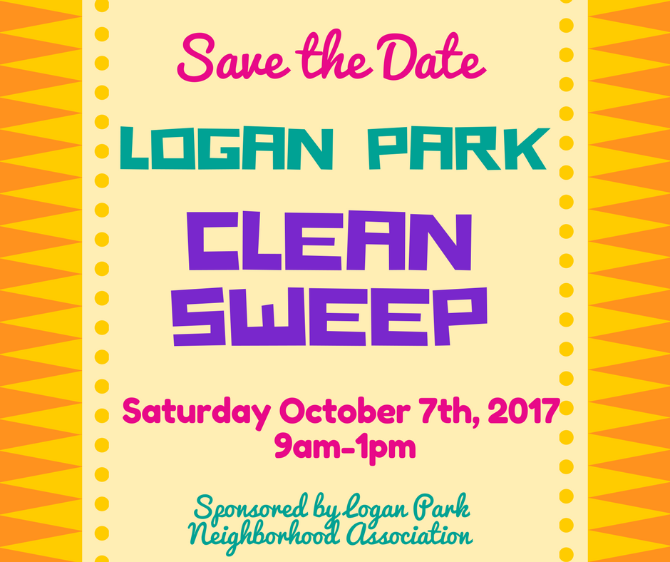 Poster containing following text: Save the Date! Clean Sweep October 7th 2017 9 am to 1pm