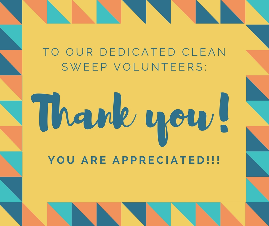 Thank you clean sweep volunteers!