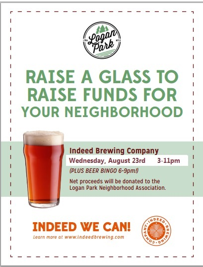 Poster: Raise a Glass to Raise Funds for Your Neighborhood, Indeed Brewing, August 23rd, 2017
