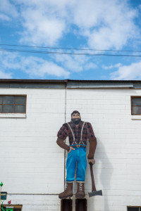 A sculpture of Paul Bunyan at the Carriage House