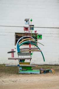 An abstract sculpture at the Carriage House