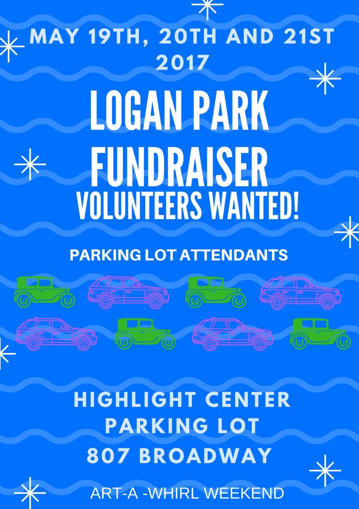 Poster: Logan Park Fundraiser Volunteers Wanted, May 2016